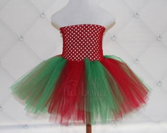 TUTU DRESS..Red and Green Christmas Tutu Dress..Newborn Tutu...Baby Tutu...Toddler Tutu...Cakesmash Tutu...Birthday Tutu...Summer Dress