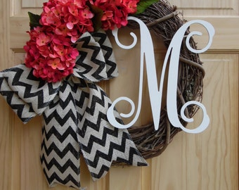 Spring wreath - hydrangea wreath - grapevine wreath - wreaths - easter wreath - monogram wreath - mothers day