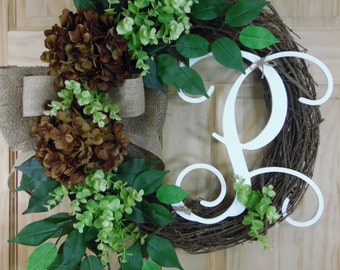 spring Wreath -summer Wreath -easter Wreath - Monogram wreath - Grapevine wreath - Outdoor wreath
