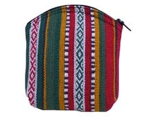 Medium Size Handmade Red/Green Patterned Woven Cotton Purse. Pouch. Coin & Card Purse. Small Makeup Bag. Gift Idea. Zip Top. Cotton Lining.