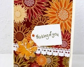 Sunflower Card - Earth Tones - Thinking of You - Blank Inside - White Lace - Colorful Flowers - Hand Stamped - Rustic Color
