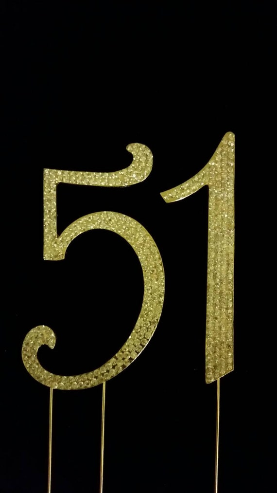 Items similar to Monogram numbers for cake topper in gold ...