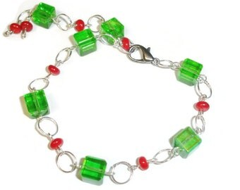 Holiday bracelet Green and red bracelet Cube bracelet long bracelet larger bracelet adjustable bracelet Cube Glass Large 11 inch Bracelet
