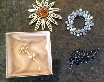 4 Vintage Pins or Brooches