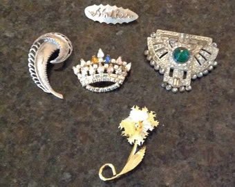 Vintage 5 Pins or Brooches