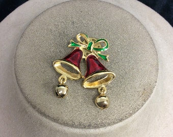 Vintage Enameled Christmas Bell With Dangling Bells Pin