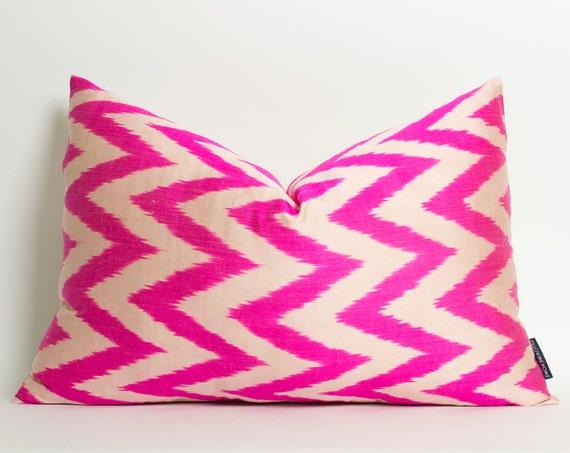 Neon pink chevron ikat pillow cover hot pink silk ikat lumbar cushion