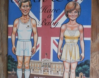Vintage 1982 Chuck & Di Have a Baby Paper Doll Book Cut Outs Paper Dolls