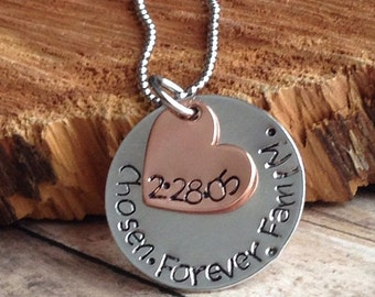 Adoption Necklace - Adoption Jewelry - Hand Stamped Family- Personalized  - Adoption Gift - Adoption - Mommy Necklace -Family Jewelry