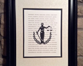 Attorney - Lawyer Gift - Set of 4 Prints -  Scales of Justice, Gavel, Supreme Court Bldg & Lady Justice superimposed over legal Latin tems