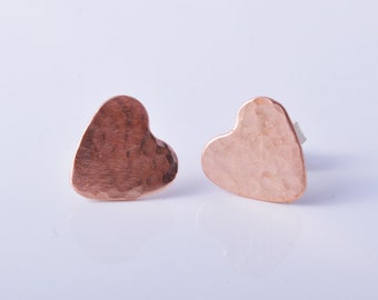 Copper Hammered Heart Earrings Ear Studs handmade sterling silver posts