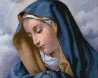 Virgin Mary Cross Stitch Pattern-Religious, Catholic