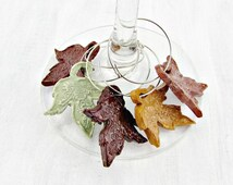 Thanksgiving Wine Glass Charm Set, Ceramic Maple Leaf Wine Charms, Fall Autumn Decor, Table Decorations, Co-Worker Housewarming Hostess Gift