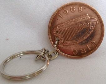 1968 1d Penny Pingin Irish Coin Keyring Key Chain Fob 49th Birthday