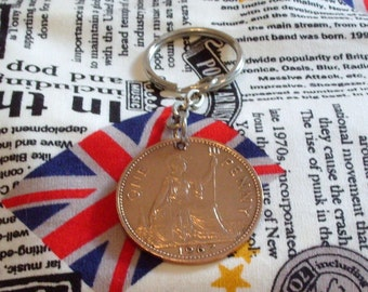 1967 1d 1d Old Penny English Coin Keyring Key Chain Fob Queen Elizabeth II