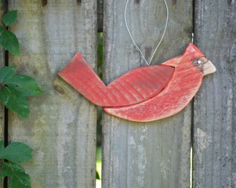 Cardinal Bird Wood Ornament - reclaimed wood, hand painted,