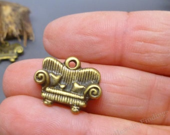 20 pcs Antique Sofa Bronze charms - Home charms -  Home Sweet Home Theme - Charms in bulk -MC0351