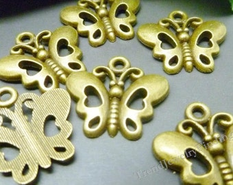 BULK-  Butterfly Charms Antique Bronze Tone - Lot of 50 pcs - MC0310