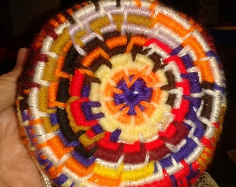 Hand Woven multi colored Yarn Coiled Basket