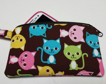 Zipper Pouch,Coin Purse, Credit Card Holder, Phone Holder, Cats, Kittens, Animals, Nylon Liner Lobster Clip, Washable.