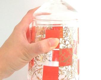 VIntage Apothecary Jar, Orange Apothecary Jar, Gold Apothecary Jar, Orange and Gold, Orange Glass Jar, Orange and Gold Jar, Orange Candy Jar