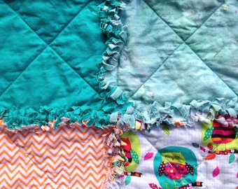 Owl rag quilt - owl baby blanket - pink yellow green blue brown turquoise rag quilt