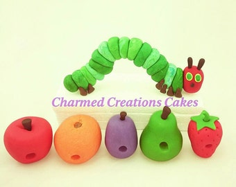 Hungry Caterpillar cake topper set edible icing