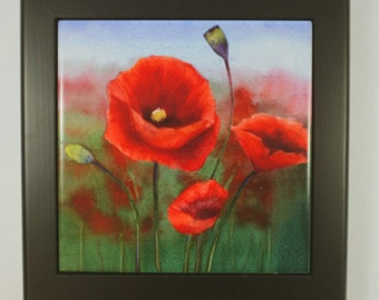 Poppy Framed Tile Trivet Original Watercolor