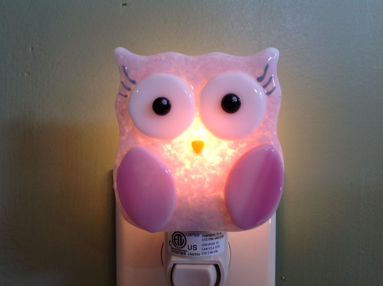 Fused Glass Pink Owl Night Light