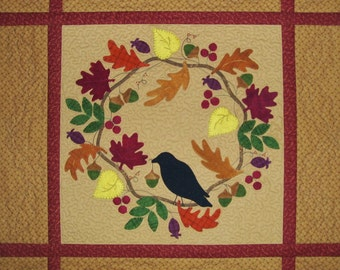 1409-An Autumn Crow, A Wool on Cotton Wall Hanging Pattern
