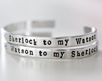 Sherlock and Watson Cuff Bracelet Set, You're the Sherlock to my Watson, You're the Watson to my Sherlock, Friendship Bracelets