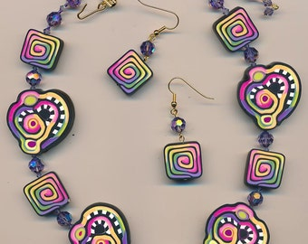 Necklace and earring set made with polymer clay beads by Terri Stone of TLSClayDesign
