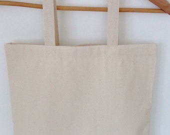 12oz plain canvas tote, blank canvas tote with pocket, plain canvas tote, durable blank cotton tote, heavy duty market tote with pocket