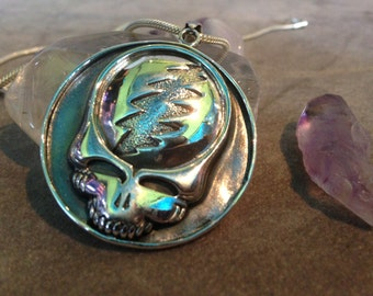 Classic Grateful Dead Steal Your Face Pendant/Medalian in Sterling Silver!