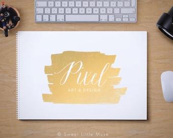 Gold Logo Design - premade photography logo - modern gold logo