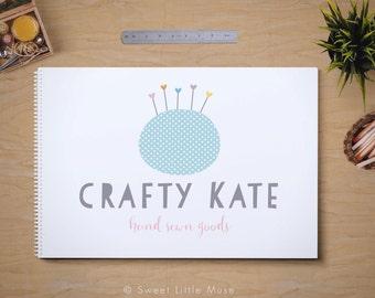 Craft logo - sewing logo - pincushion logo - premade logo design for seamstresses