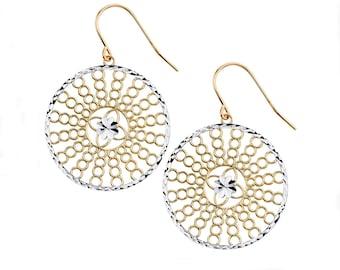 14K Two-Tone Fancy Circle Earrings, Fancy Earrings, Fancy Jewelry, Womens Jewelry, Circle Earrings, Fashion Jewelry