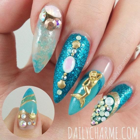 Mermaid Nail Art Acrylic Nails: 2 Pcs Gold Mermaid 3D Nail Art Charm / Decorations