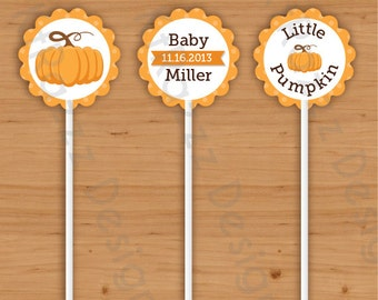 Fall Baby Shower Cupcake Toppers - Pack of 15