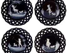 Set of 4 Vintage Westmoreland Mary Gregory Black Milk Glass Reticulated Plates Set of 4