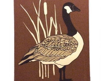 Vintage Marüshka Canadian Goose Silk-Screen Print on Canvas Art