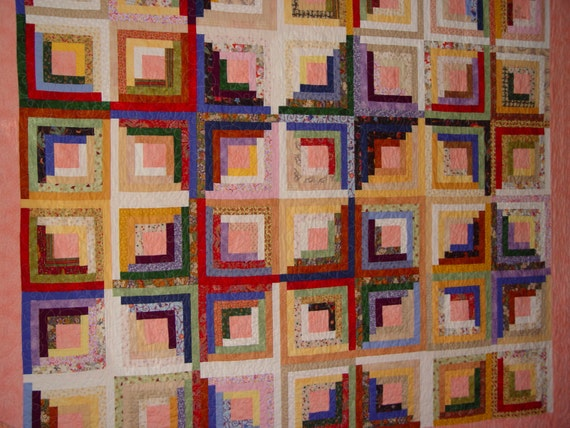 Log Cabin Quilt Pattern Free Queen Size : Items similar to Queen size log cabin quilt on Etsy