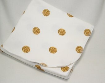 Organic Cotton Gold Dots Swaddle Blanket, Gold Swaddling Blanket, Baby Receiving Blanket, Baby Swaddler, Lightweight Cotton Blanket