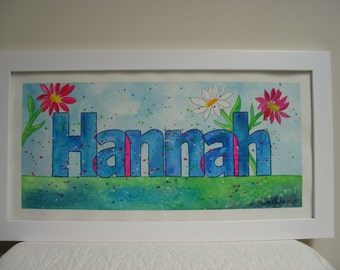 Personalized Kids Name Painting, Custom Made, Bright Watercolors, Framed and ready to hang