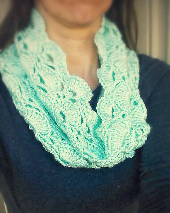 crochet scarf cowl lace scarf mint green scarves by