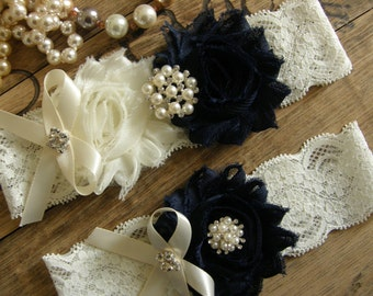 Something Blue / Garter / Wedding Garters / Lace Garter / Navy Blue / Ivory /  Bridal Garter / Toss Garter  / Vintage Inspired
