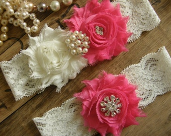 Garter / Wedding Garters / Ivory / Hot Pink / Bridal Garter / Toss Garter / Wedding Garter Set / Vintage Inspired Lace Garter