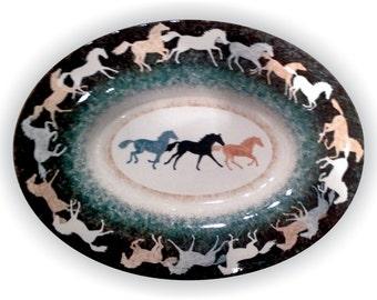 Platter Large Running Horse