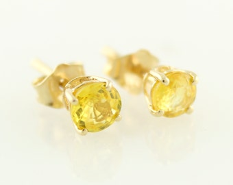 14KT Yellow Gold 0.70ctw 4mm Yellow Sapphire Studs Earring