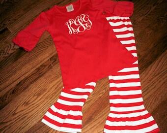 Christmas Monogram Tunic and Ruffle Pant, Tunic and Ruffle Pant